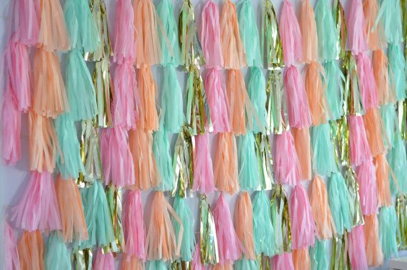 Customizable Eight 10' Tissue Paper Tassel Garland Backdrop // Photo Booth // Display Table // Party // Weddings // Store Decor on Etsy, $250.00