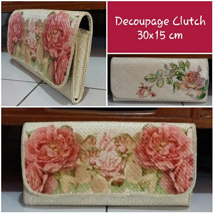 Pandanus clutch with decoupage