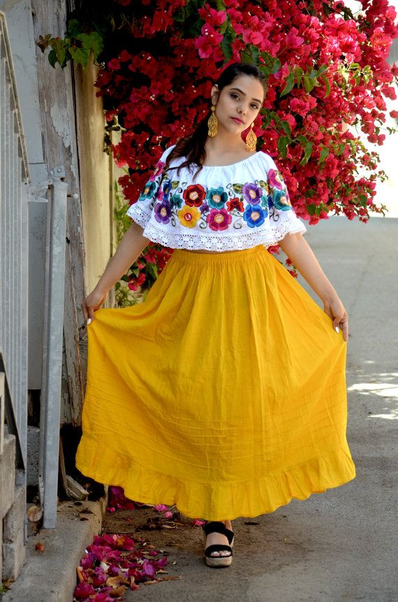 XLLMS Mexican Off Shoulder Peasant Top Blouse by Vtgantiques