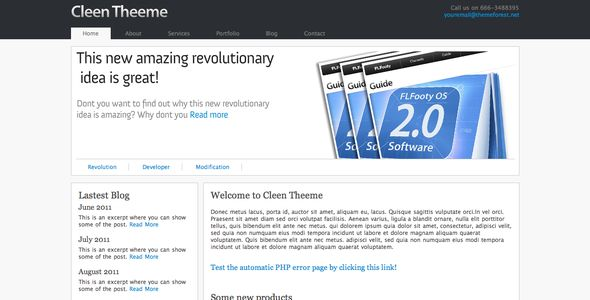 Cleen Theeme . Cleen Theeme is a simple PHP/HTML template fit for any purpose. With its stylish jQuery slides and Lightbox effects it leaves a great impression on every visitor to your site.This is a modern template which uses jQuery and CSS to create great user experience!View our Live Demo!Key