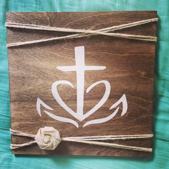 Cross, Heart, Anchor Sign -- Faith Hope Love -- Rustic Sign -- Wood Sign -- Faith -- Farmhouse Sign