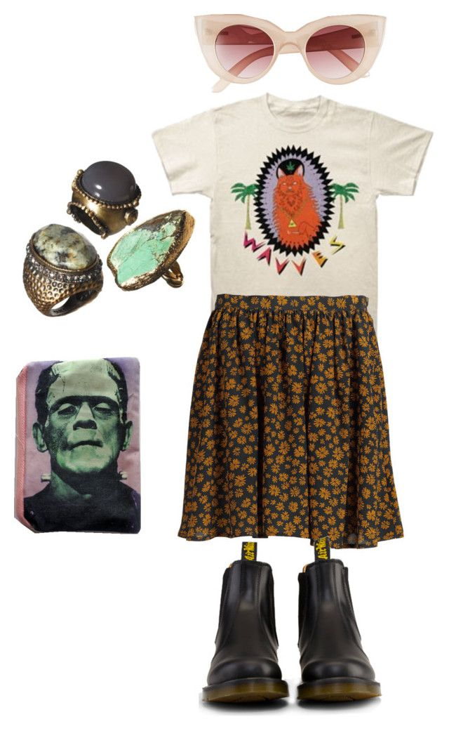 """""""dis 1"""" by spamotron ❤ liked on Polyvore featuring ATTIC AND BARN, Dr. Martens, MINKPINK, women's clothing, women's fashion, women, female, woman, misses and juniors"""
