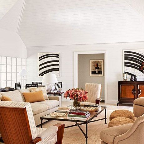 love the ceiling! - David Kleinberg Transforms a Ho-Hum Hamptons Rental House into a Heavenly Retreat : Architectural Digest