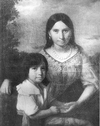 Pocahontas with her son Thomas Pepsironemeh Rolfe (30 Jan 1615-1680). When she died in 1617 on the way home to VA,  her son Thomas, was sent back to England to his uncle, Henry Rolfe. When he was age 20, he left for VA & he became an important part of the colonies. He married twice, 1632 to Elizabeth Washington & had 1 child Anne (later wife of Peter Elwyn), then to Jane Poythress  & had a daughter Jane who married Robert Boiling. American's &  English trace descent from Pocahontas from him.