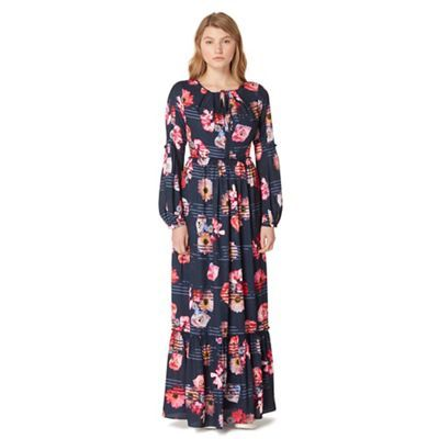 Studio by Preen Navy floral print frilled maxi dress | Debenhams