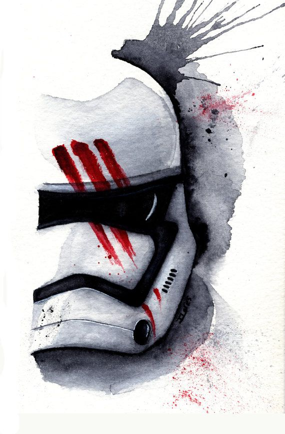 Finn Stormtrooper The Force Awakens Watercolor art Print  Star Wars Decor paint