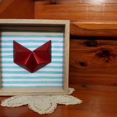 Handmade Geometric Hearts set in a deep wooden frame
