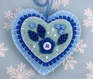 Felt Christmas ornament. Blue and white heart decoration, holiday decor by nadia