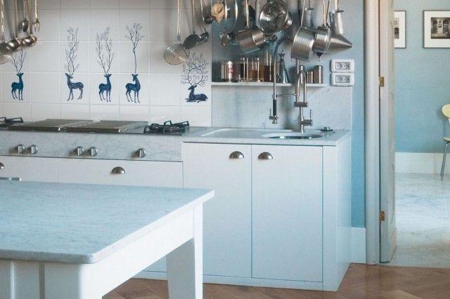 Azulejos de cocina en blanco, dise�o italiano