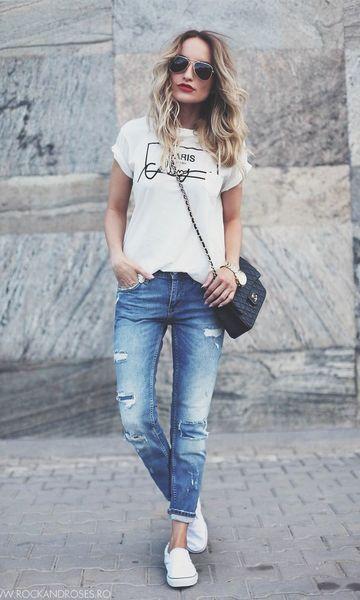Look: T-shirt + Calça Boyfriend