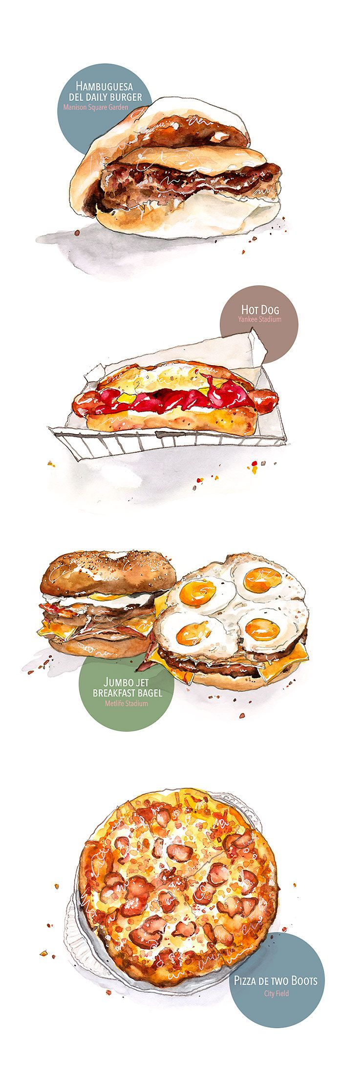 "watercolor food illustrations for Mexican magazine, ""Life and Style"""