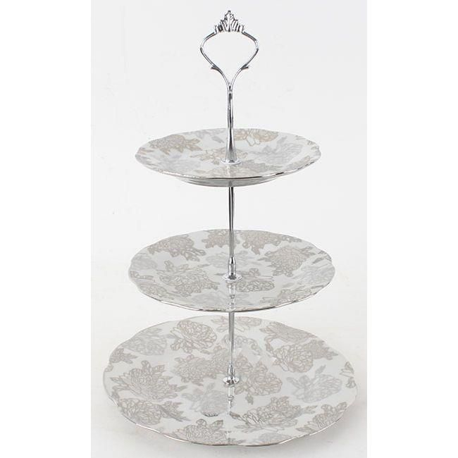 Porcelain three tier plate