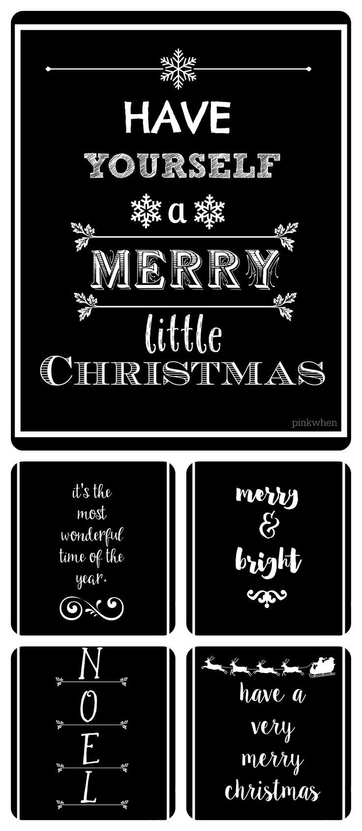 Five FREE Black and White Christmas Printables