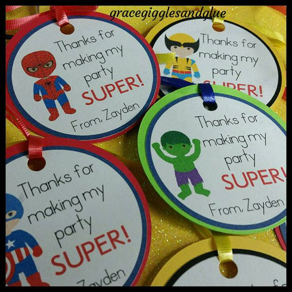 Check out this item in my Etsy shop https://www.etsy.com/listing/268785164/12-superhero-favor-tags-w-cello-bags