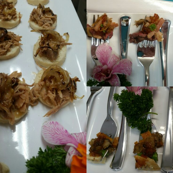 Pulled pork bruschetta and assorted gourmet forks. Made by Kaitri's Catering Kaitriscatering@optusnet.com.au , www.facebook.com/kaitriscatering