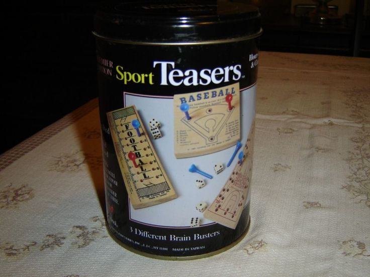 #Cardinal Sport Teasers #game pack tin NIP  Premier Edition Sport Teasers game collection by Cardinal Industries  3 different brain busters- Football, Baseball, Basketball  Hours of fun and challenge  Crafted of solid wood  The game tin itself is no longer sealed but each game is still in its original packaging  Directions on a separate sheet and also are on each game board  02142012PENI53D