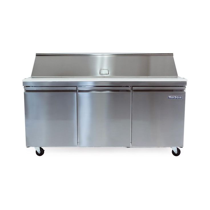 NORPOLE 70 in. W 15.5 cu. ft. 3-Door Mega Top Sandwich-Salad Prep Table Stainless Steel (Silver)