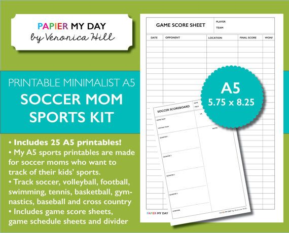 A5 #Filofax Sports Pack for Soccer Moms! This minimalist A5 Sports Scoresheet pack includes 25 planner printables for soccer moms who want to track of their kids' sports.  This sports pack is perfect for Filofax and Kikki K planners, and includes game score sheets, game schedule sheets and a divider sheet.  Also included are separate score sheets for soccer, volleyball, football, swimming, tennis, basketball, gymnastics, baseball and cross country.