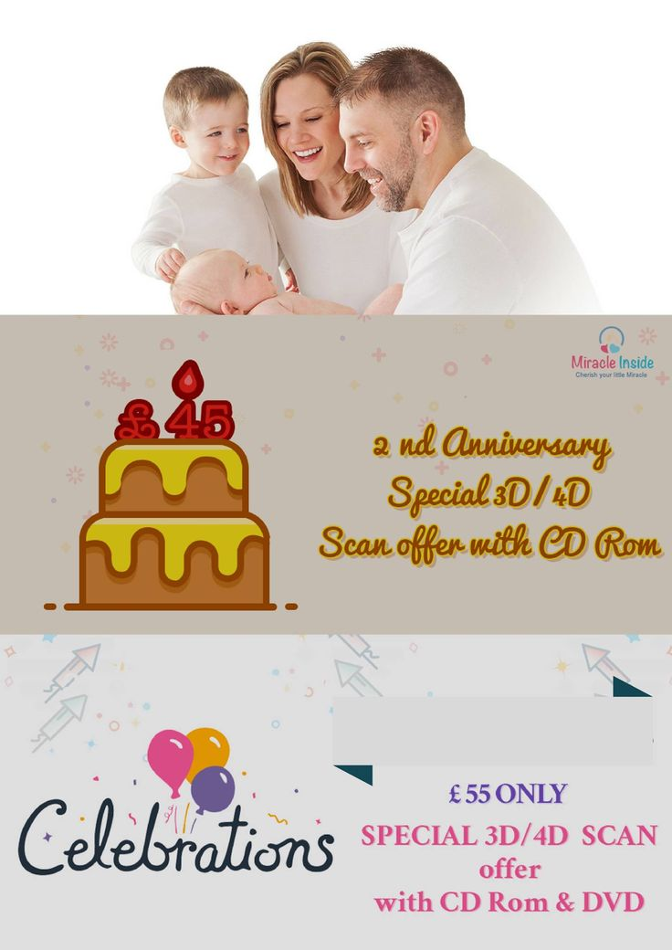 OUR 2nd Anniversary SPECIAL 3D/4D OFFER WITH CD rom £45 & with CD & DVD - £ 55  (15 min Appointment and 24 to 34 wks.)  INCLUDED IN THIS PACKAGE  - 3D Photos: 2 - CD Rom with all Beautiful Pictures taken during the scan  - DVD of the whole the scan  - Visual Heartbeat Monitoring - Verbal Reassurance. #3D4Dpregnancyscan #offerinpregnancyscanservices
