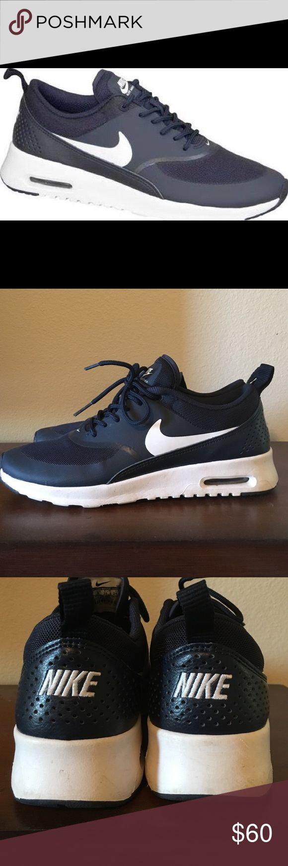 Air Max Thea Navy blue in color. Worn twice. They run narrow and I have a wide foot so it just didn't work! Nike Shoes Athletic Shoes