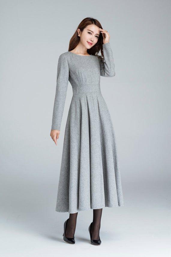 Gray Dress Formal Wool Dress Fall Dress For Women Winter Etsy Woolen Dresses Wool Dress Winter Dresses