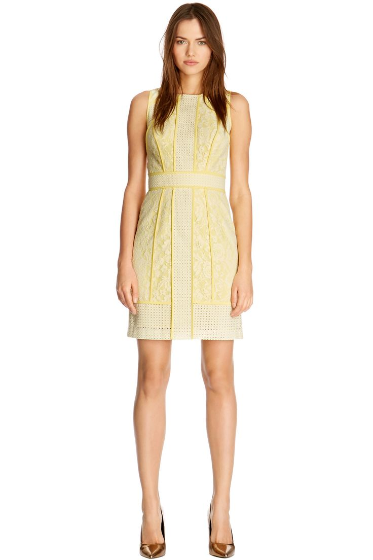 Dresses | Yellow Panelled Broderie Lace Dress | Warehouse