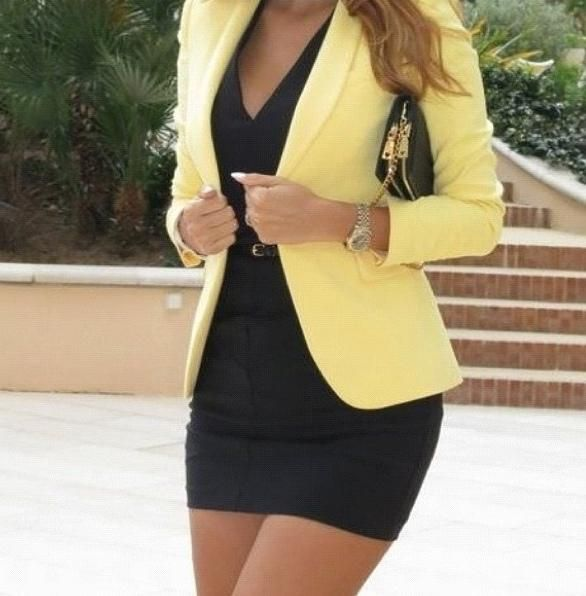 Black dress and yellow blazer
