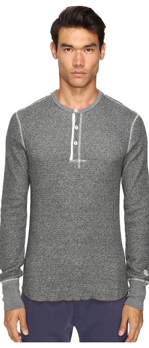 Todd Snyder + Champion Henley (Black Mix) Men's Long Sleeve Pullover - Todd Snyder + Champion, Henley, KN45911000, Apparel Top Long Sleeve Pullover, Long Sleeve Pullover, Top, Apparel, Clothes Clothing, Gift, - Street Fashion And Style Ideas