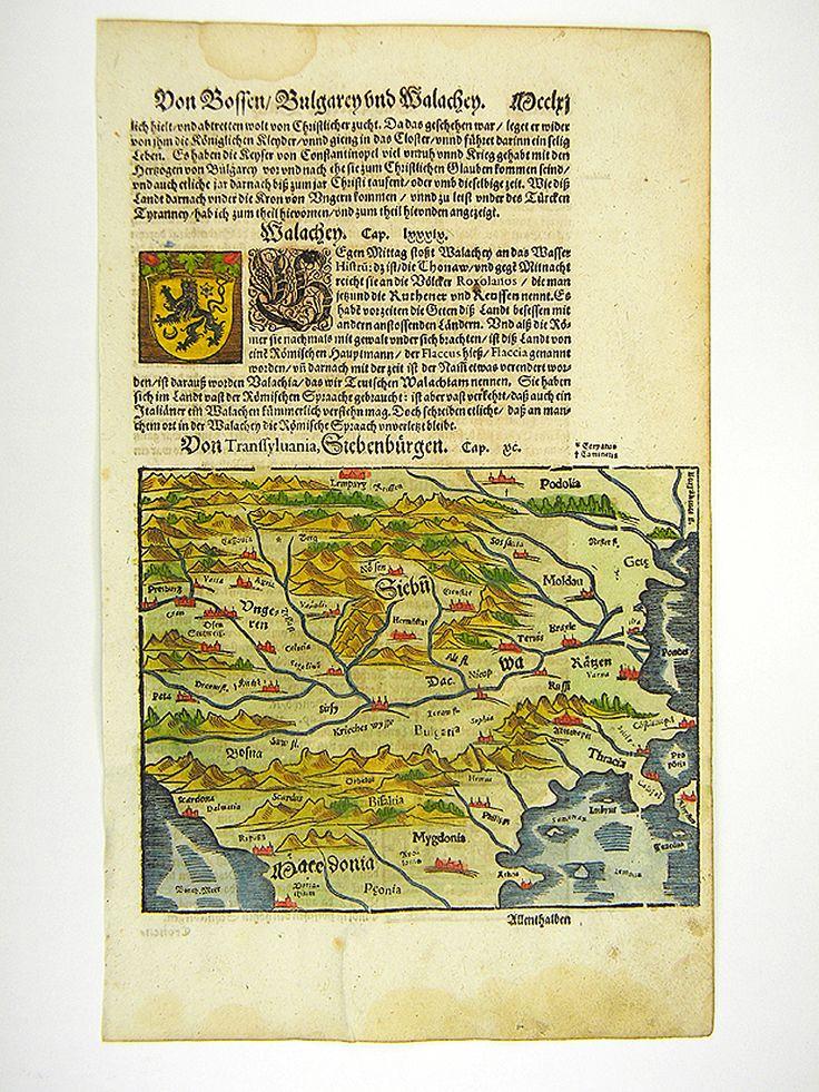 SIEBENBÜRGEN RUMÄNIEN BULGARIEN UNGARN KARTE S. MÜNSTER MUNSTER 1598