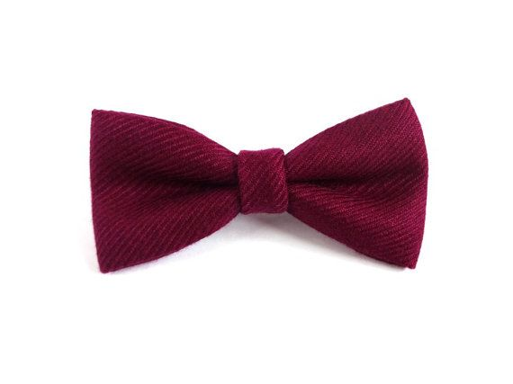 Purple Wool Bow Tie, Mens Bow Tie, Autumn Bow Tie by RubiBell