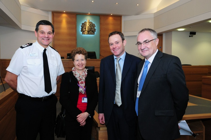 Warwickshire Chief Constable Andy Parker, Chief Executive of Warwickshire Probation Trust, Liz Stafford, Home Office Minister for Policing and Criminal Justice, Nick Herbert and Richard Lyttle, Warwickshire Criminal Justice Centre.
