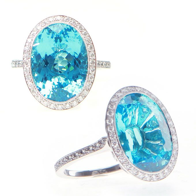 Brides.com: Engagement Rings With Colored Stones. Platinum and diamond ring with cushion-cut blue cuprian elbaite tourmaline center stone, Tiffany & Co. See more cushion-cut engagement rings.