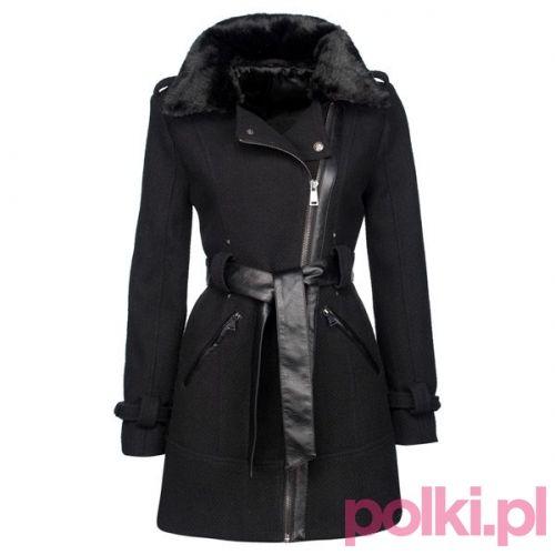 Czarny płaszcz New Yorker #polkipl #plaszcz