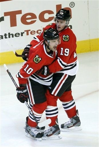 Patrick Sharp (10) and Jonathan Toews (19) the two cutest players in hockey. My two favorite as well.