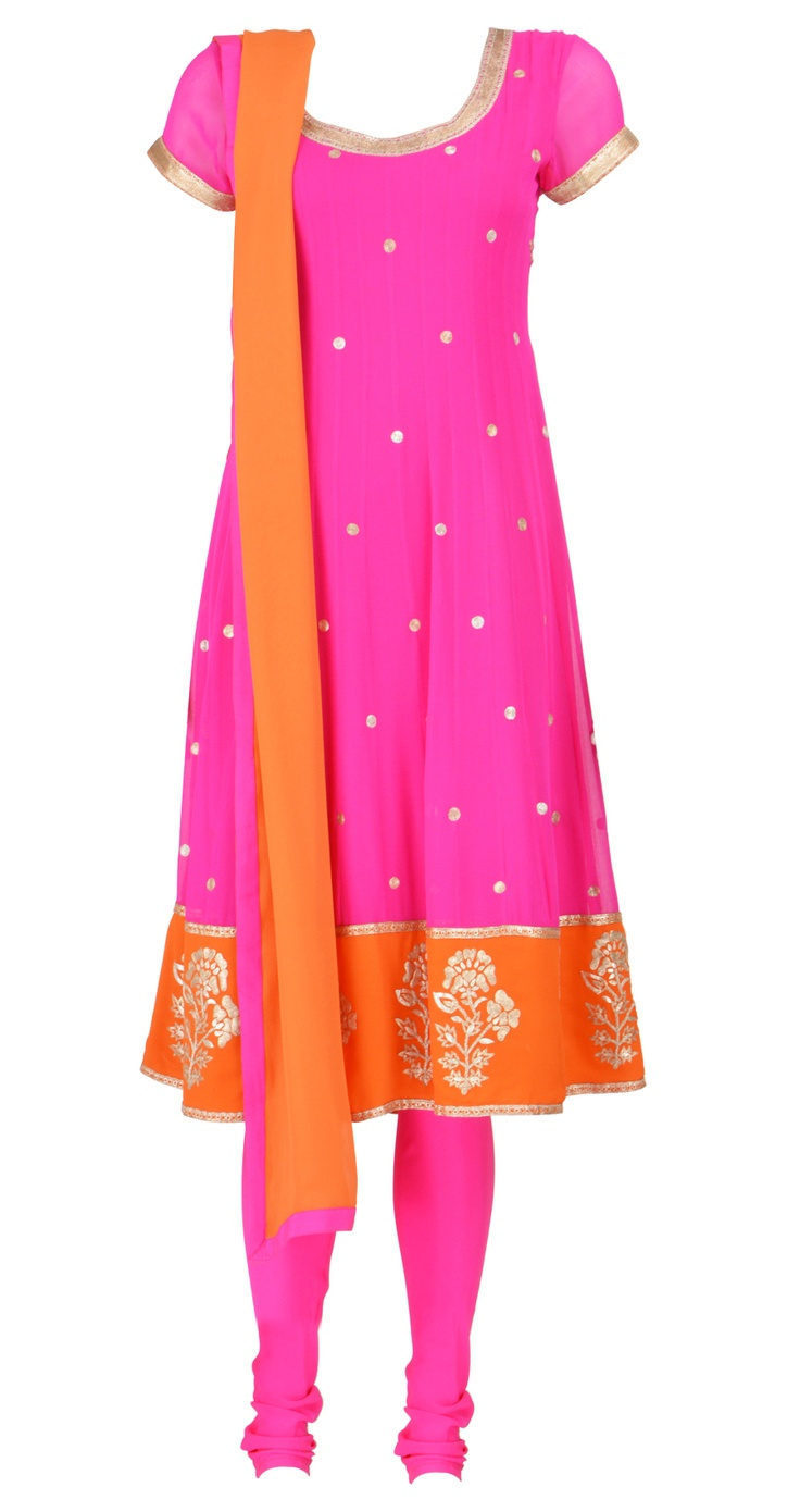 PRATIMA GAURAV's Fuschia and orange short anarkali with zari butis and piping. Shop at https://www.perniaspopupshop.com/designers-1/pratima-gaurav/pratima-gaurav-5