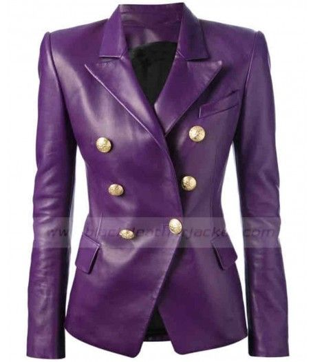 Ladies Balmain Purple Leather Jacket for sale at Discounted Price $199.00 Buy Online Double Breasted Blazer Womens. #purpleleatherjacket #womenblazer #balmainjacket #doublebreastedjacket #leatherjacket #jacket #womenjacket