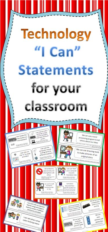 Do you have I Can statements for the technology standards? We are all required to teach these standards, even if our school has a technology specialist. These sets of I Can Statements will help you and your students gain the skills necessary to be successful in the 21st century classroom. Check out this blog post.