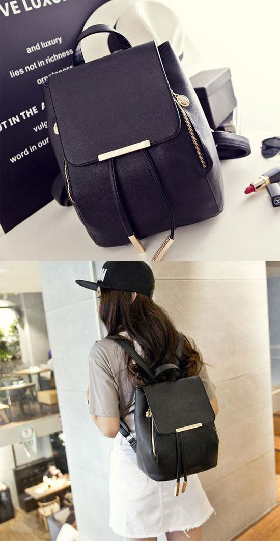 Fashion Black Solid Simple Square PU Drawstring Hasp Satchel Backpack for big sale ! #backpack #school #square