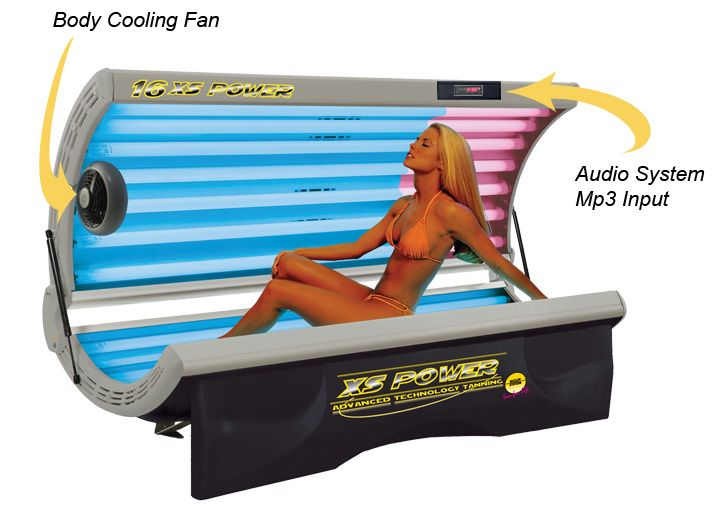 """16 XS Power """"Delux"""" Facial Tanning Bed - Description: 8- Dual Tone Twister Lamps (Elite Lamp with Double Bronzing and Double Lamp Life) 8- Extremely..."""