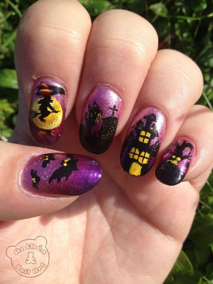 Ma nuit d'Halloween, inspiré des tutos de Mod'N'Nails et de Robin Moses Nail Art Plus d'infos sur le blog : http://anthea-nail-art.over-blog.com/2013/12/nuit-d-halloween.html