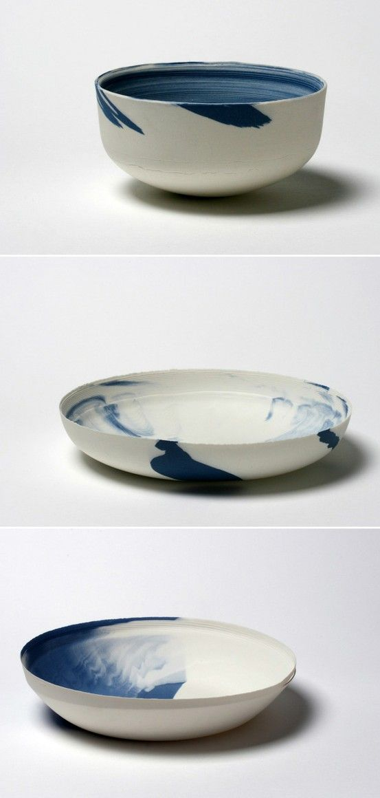Dik Sccheepers, NL. Turning White and Blue. 2008 porcelain. In my search for a new way to produce ceramics I made these objects by editing color into the casting slip and at specific times I intervened the process of forming a cast so different layers could be created.