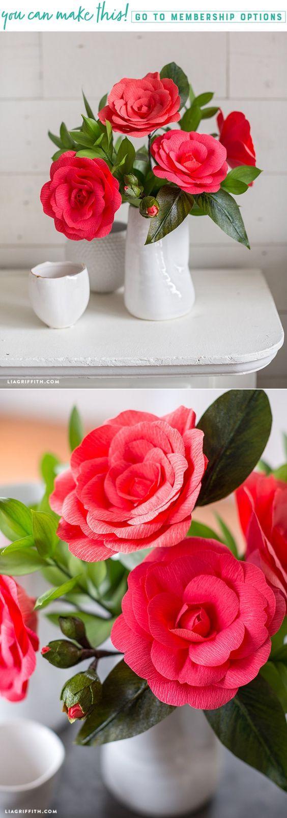 Create a bouquet of beautiful crepe paper camellia flowers - Lia Griffith - www.liagriffith.com #paperart #paperlove #paperflower #paperflowers #crepepaper #crepepaperrevival #crepepaperflowers #diyinspiration #diyidea #diyideas #madewithlia