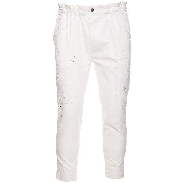 Trousers (€355) ❤ liked on Polyvore featuring men's fashion, men's clothing, men's pants, men's casual pants, mens elastic waist pants, mens white cotton pants, mens cotton pants and mens white pants