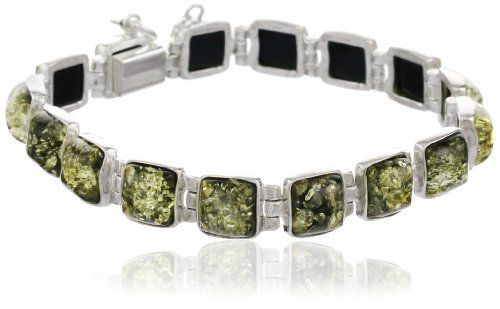 """Baltic Green Amber and Sterling Silver Modern Wonder Groove Bracelet 7"""" Amazon Curated Collection. $118.00. Made in Poland. Save 38%!"""
