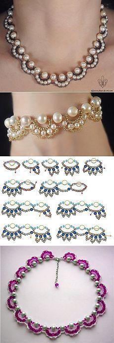 Схема плетения ожерелья или браслета с бусинами под жемчуг: