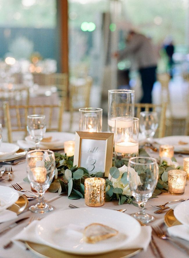 Simple Greenery With Candles And Framed Table Number Wedding Vision I Romantic Wedding Centerpieces Candle Wedding Centerpieces Greenery Wedding Centerpieces