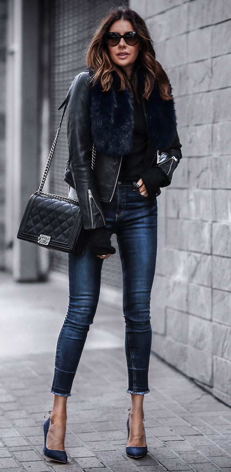 Black t shirt navy jeans - 40 Amazing Spring Outfits To Copy Asap Navy Pumpsleather Outfitsblack