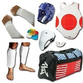 Belts and Sashes 73981: Complete Cloth Sparring Gear Set W Shin, Groin And Bag - Red - Child-Small -> BUY IT NOW ONLY: $79.32 on eBay!