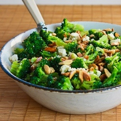 Barely-Blanched Broccoli Salad with Feta and Fried Almonds (Makes ...