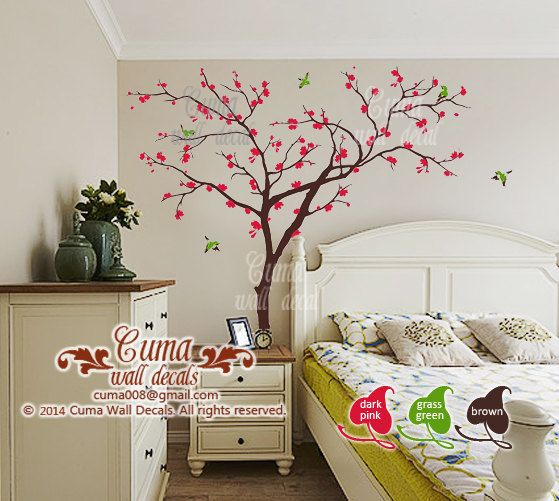 Best Cherry Blossom Wall Decal Nursery Design Images On - Wall stickers for girlspink cherry blossom tree with birds wall stickers girls bedroom